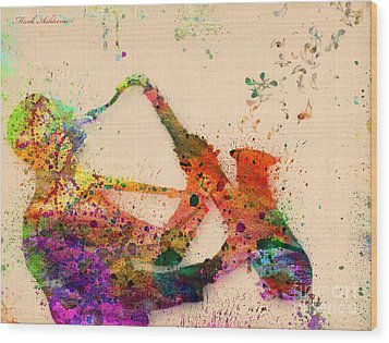 Saxophone  Wood Print by Mark Ashkenazi