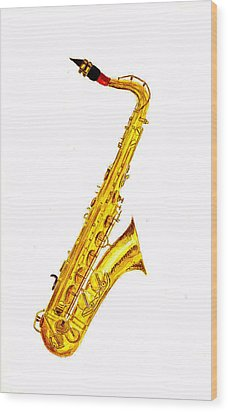 Saxophone Wood Print by Michael Vigliotti