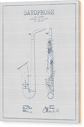 Saxophone Patent Drawing From 1899 - Blue Ink Wood Print by Aged Pixel