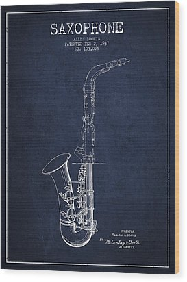 Saxophone Patent Drawing From 1937 - Blue Wood Print by Aged Pixel