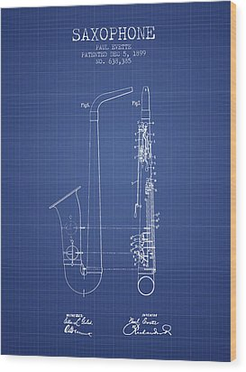 Saxophone Patent From 1899 - Blueprint Wood Print by Aged Pixel