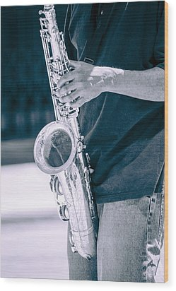 Saxophone Player On Street Wood Print by Carolyn Marshall
