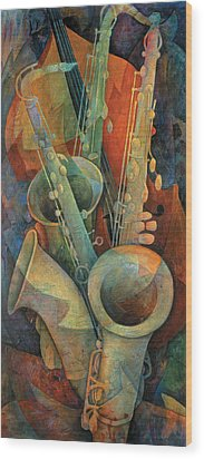 Saxophones And Bass Wood Print by Susanne Clark