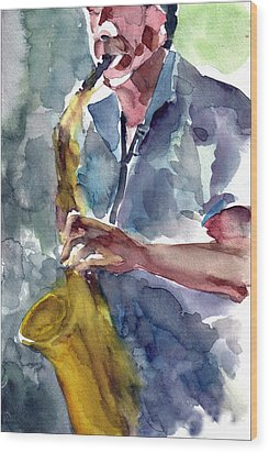 Wood Print featuring the painting Saxophonist by Faruk Koksal