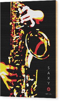 Saxy Black Poster Wood Print by David Davies
