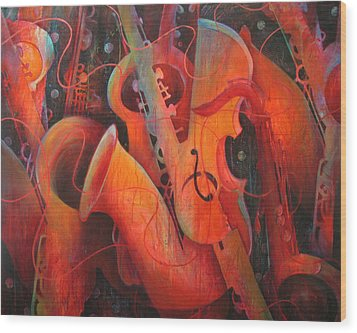 Saxy Cellos Wood Print by Susanne Clark
