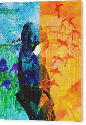 Saying Goodbye Wood Print by Bruce Manaka