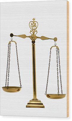 Scale Of Justice Wood Print by Olivier Le Queinec