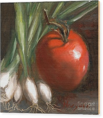Scallions And Tomato Wood Print by Addie Hocynec