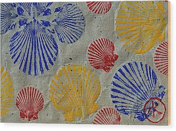 Scallops - Seafood Rainbow Wood Print