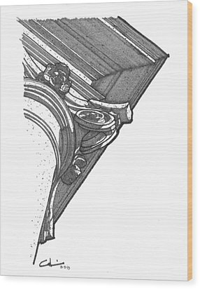 Scamozzi Column Capital Wood Print by Calvin Durham