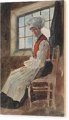 Scandinavian Peasant Woman In An Interior Wood Print by Alexandre Lunois