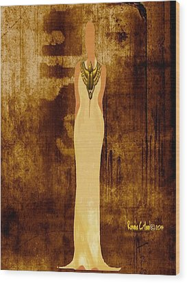 Scarab Sista Goddess Wood Print by Romaine Head