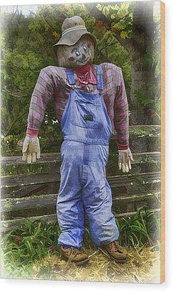 Scarecrow Wood Print by John Haldane