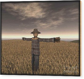 Scarecrow Wood Print by Susanne Baumann