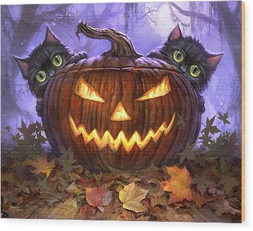 Scaredy Cats Wood Print by Jeff Haynie