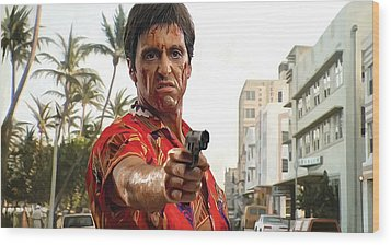 Wood Print featuring the painting Scarface Artwork 2 by Sheraz A