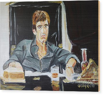 Wood Print featuring the painting Scarface by Judy Kay