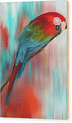 Scarlet- Red And Turquoise Art Wood Print