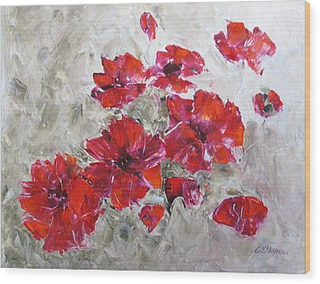 Scarlet Poppies Wood Print