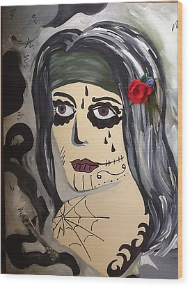 Scary Girl Wood Print by Karen Carnow