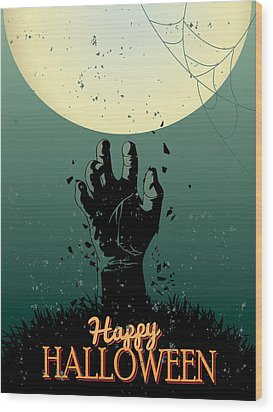 Wood Print featuring the painting Scary Halloween by Gianfranco Weiss