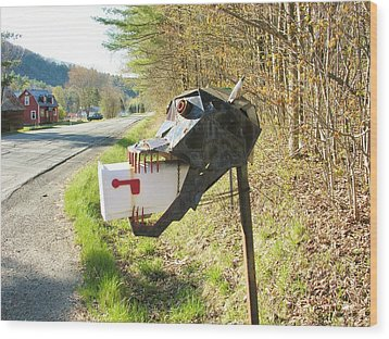Wood Print featuring the photograph Scary Mailbox by Sherman Perry