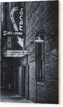 Scat Lounge In Cool Black And White Wood Print by Joan Carroll