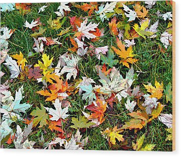 Scattered Leaves Wood Print by Mariola Szeliga