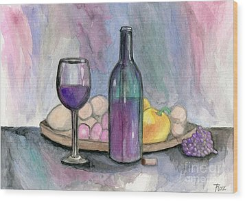 Scene From An Italian Restaurant Wood Print by Roz Abellera Art