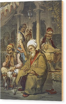 Scene In A Cafe, 1865 Wood Print by Amadeo Preziosi