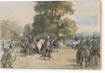 Scene In Hyde Park Wood Print
