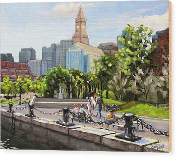 Scenic Boston Wood Print by Laura Lee Zanghetti