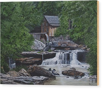 Scenic Grist Mill Wood Print by Vicky Path