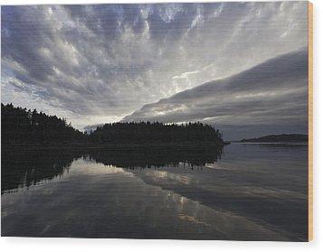 Scenic Maine Roque Island Archipelago Reflections Wood Print by Susan  Degginger