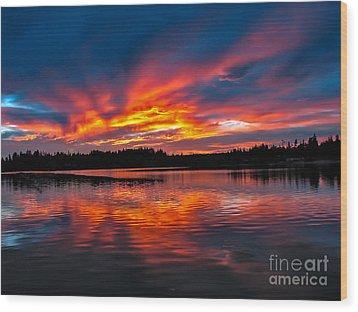 Scenic Marine Sunrise Wood Print by Robert Bales