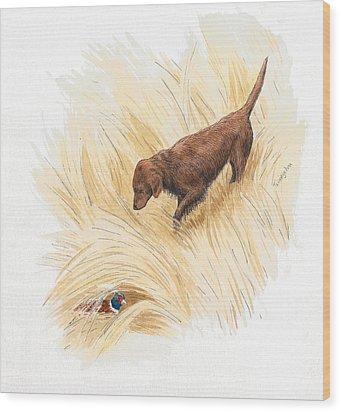 Scenting Pheasant Wood Print