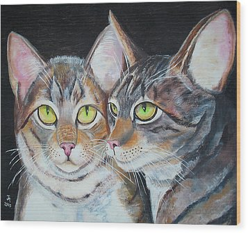 Scheming Cats Wood Print
