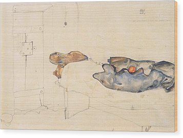 Schiele's Drawing Of His Prison Cell In Neulengbach Wood Print by Celestial Images