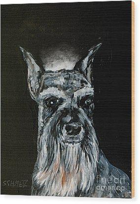 Schnauzer Angel Wood Print by Jay  Schmetz