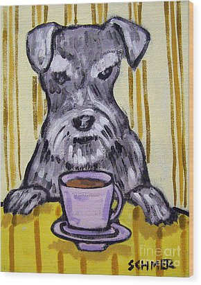 Schnauzer At The Coffee Shop Wood Print by Jay  Schmetz