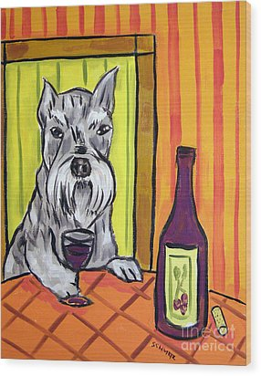 Schnauzer At The Wine Bar Wood Print by Jay  Schmetz
