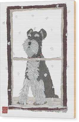 Schnauzer Art Hand-torn Newspaper Collage Art Wood Print by Keiko Suzuki Bless Hue