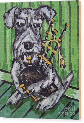 Schnauzer Playing Bagpipes Wood Print by Jay  Schmetz