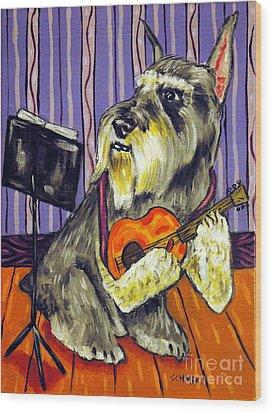Schnauzer Playing Guitar Wood Print by Jay  Schmetz