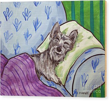 Schnauzer Sleeping Wood Print by Jay  Schmetz