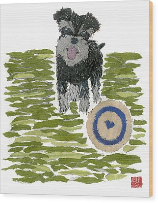 Schnauzer Art Hand-torn Newspaper Collage Art Dog Portrait Wood Print by Keiko Suzuki Bless Hue