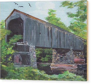 Schofield Covered Bridge Wood Print by Lucia Grilletto