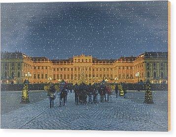 Schonbrunn Christmas Market Wood Print by Joan Carroll