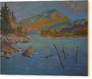 Wood Print featuring the painting Schoodic Mountain On Egypt Bay by Francine Frank